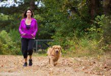 Frau mit Hund beim Spaziergang